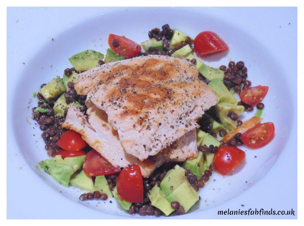 {Recipe} Salmon Fillet(s) with Lentils, Baby Plumb Tomatoes and Avocado